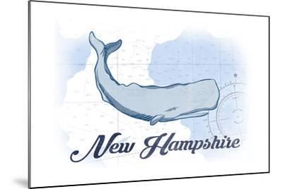 New Hampshire - Whale - Blue - Coastal Icon-Lantern Press-Mounted Art Print