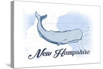 New Hampshire - Whale - Blue - Coastal Icon-Lantern Press-Stretched Canvas Print