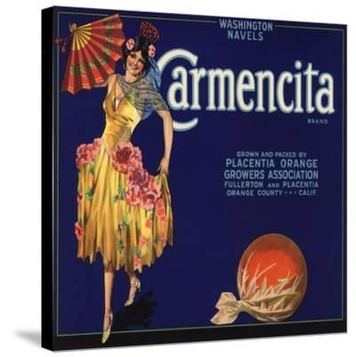 Carmencita Brand - Fullerton, California - Citrus Crate Label-Lantern Press-Stretched Canvas Print