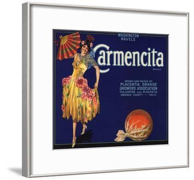 Carmencita Brand - Fullerton, California - Citrus Crate Label-Lantern Press-Framed Art Print