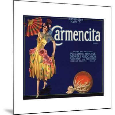 Carmencita Brand - Fullerton, California - Citrus Crate Label-Lantern Press-Mounted Art Print