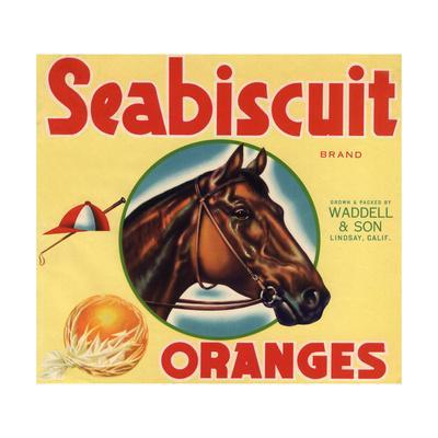 Seabiscuit Brand - Lindsay, California - Citrus Crate Label-Lantern Press-Framed Art Print