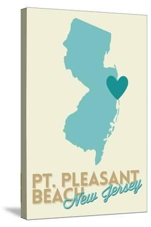Pt. Pleasant Beach, New Jersey - Heart Design (Blue and Teal)-Lantern Press-Stretched Canvas Print