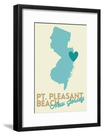 Pt. Pleasant Beach, New Jersey - Heart Design (Blue and Teal)-Lantern Press-Framed Art Print