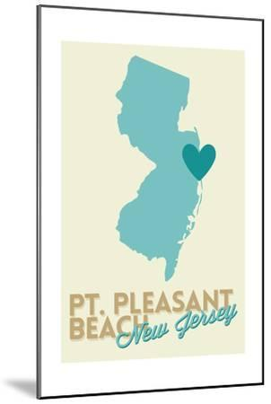 Pt. Pleasant Beach, New Jersey - Heart Design (Blue and Teal)-Lantern Press-Mounted Art Print