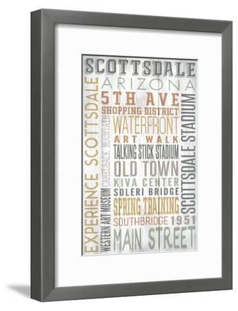 Scottsdale, Arizona - Barnwood Typography-Lantern Press-Framed Art Print