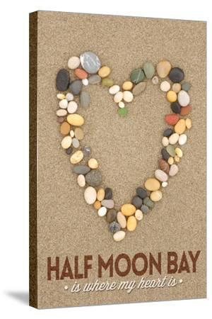 Half Moon Bay, California Is Where My Heart Is - Stone Heart on Sand-Lantern Press-Stretched Canvas Print