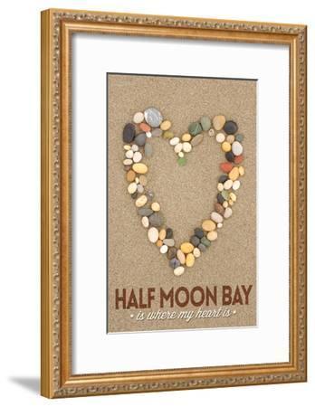 Half Moon Bay, California Is Where My Heart Is - Stone Heart on Sand-Lantern Press-Framed Art Print