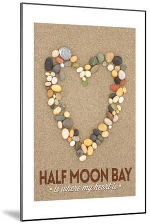 Half Moon Bay, California Is Where My Heart Is - Stone Heart on Sand-Lantern Press-Mounted Art Print