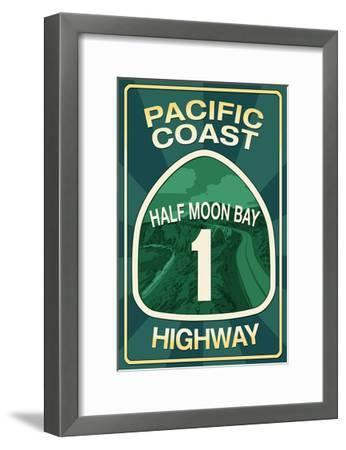 Highway 1, California - Half Moon Bay - Pacific Coast Highway Sign-Lantern Press-Framed Art Print