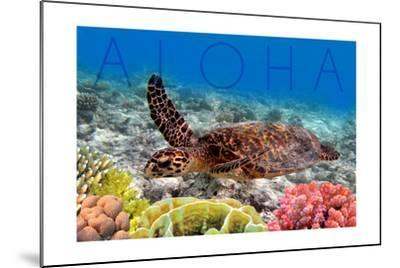 Sea Turtle and Coral - Aloha-Lantern Press-Mounted Art Print