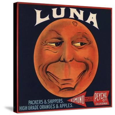 Luna Brand - Los Angeles, California - Citrus Crate Label-Lantern Press-Stretched Canvas Print