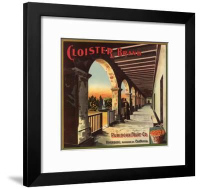 Cloister Brand - Riverside, California - Citrus Crate Label-Lantern Press-Framed Art Print