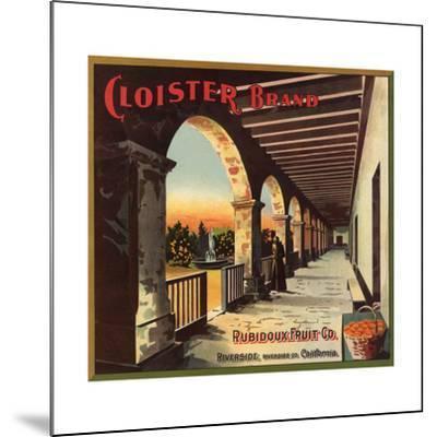 Cloister Brand - Riverside, California - Citrus Crate Label-Lantern Press-Mounted Art Print