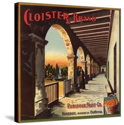 Cloister Brand - Riverside, California - Citrus Crate Label-Lantern Press-Stretched Canvas Print
