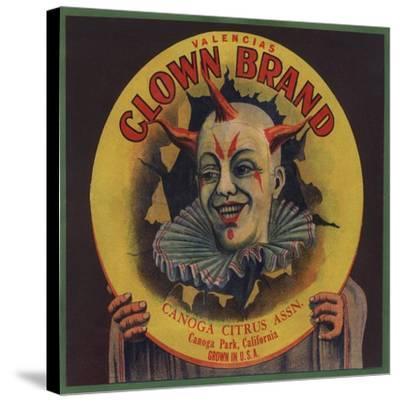 Clown Brand - Canoga Park, California - Citrus Crate Label-Lantern Press-Stretched Canvas Print