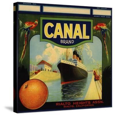 Canal Brand - Rialto, California - Citrus Crate Label-Lantern Press-Stretched Canvas Print