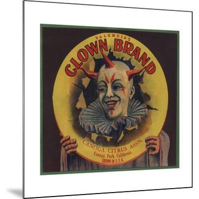 Clown Brand - Canoga Park, California - Citrus Crate Label-Lantern Press-Mounted Art Print
