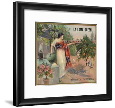 La Loma Queen Brand - Riverside, California - Citrus Crate Label-Lantern Press-Framed Art Print