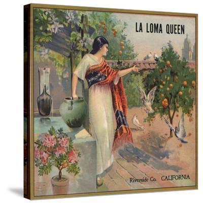 La Loma Queen Brand - Riverside, California - Citrus Crate Label-Lantern Press-Stretched Canvas Print