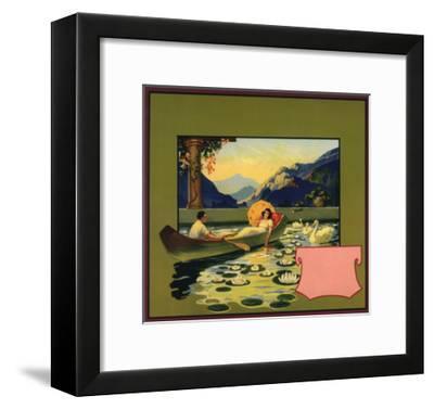 Couple in Canoe - Citrus Crate Label-Lantern Press-Framed Art Print