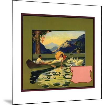 Couple in Canoe - Citrus Crate Label-Lantern Press-Mounted Art Print