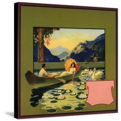 Couple in Canoe - Citrus Crate Label-Lantern Press-Stretched Canvas Print