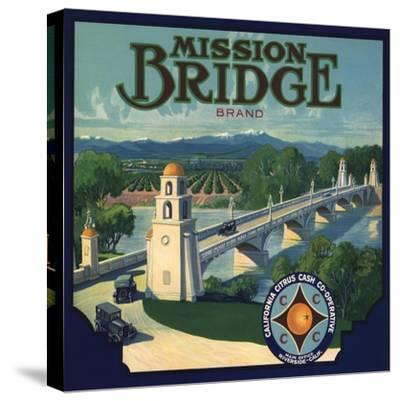 Mission Bridge Brand - Riverside, California - Citrus Crate Label-Lantern Press-Stretched Canvas Print