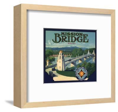 Mission Bridge Brand - Riverside, California - Citrus Crate Label-Lantern Press-Framed Art Print