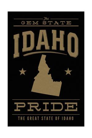 Idaho State Pride - Gold on Black-Lantern Press-Stretched Canvas Print