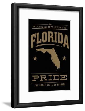 Florida State Pride - Gold on Black-Lantern Press-Framed Art Print