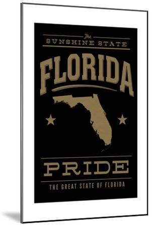 Florida State Pride - Gold on Black-Lantern Press-Mounted Art Print