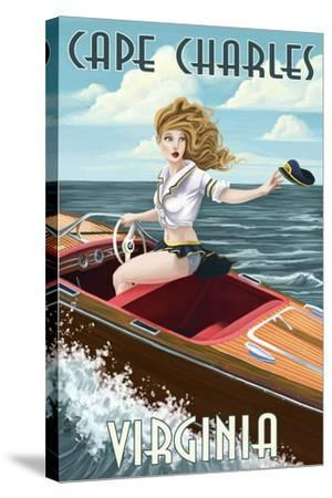Cape Charles, Virginia - Pinup Girl Boating-Lantern Press-Stretched Canvas Print