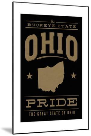 Ohio State Pride - Gold on Black-Lantern Press-Mounted Art Print