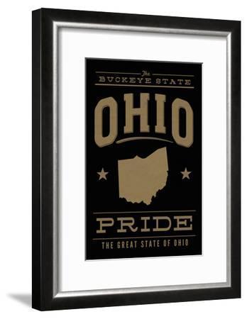 Ohio State Pride - Gold on Black-Lantern Press-Framed Art Print