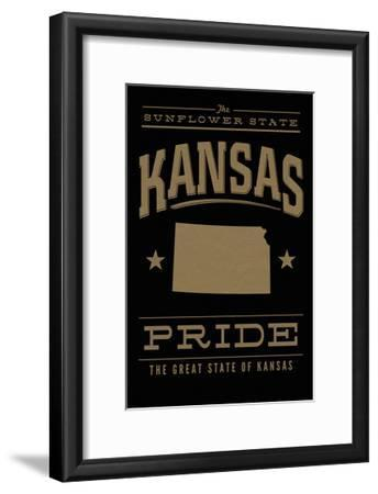 Kansas State Pride - Gold on Black-Lantern Press-Framed Art Print