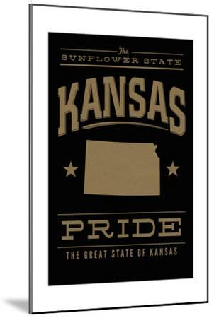 Kansas State Pride - Gold on Black-Lantern Press-Mounted Art Print