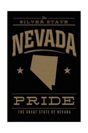 Nevada State Pride - Gold on Black-Lantern Press-Framed Art Print