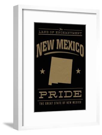 New Mexico State Pride - Gold on Black-Lantern Press-Framed Art Print