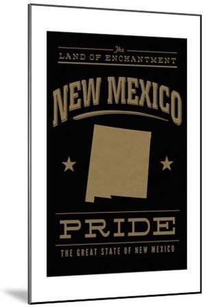 New Mexico State Pride - Gold on Black-Lantern Press-Mounted Art Print