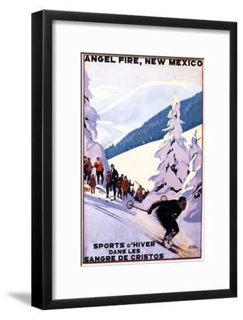 Sangre de Cristos, New Mexico - Spectators Watching Skier - Artwork-Lantern Press-Framed Art Print