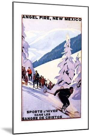 Sangre de Cristos, New Mexico - Spectators Watching Skier - Artwork-Lantern Press-Mounted Art Print