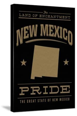 New Mexico State Pride - Gold on Black-Lantern Press-Stretched Canvas Print