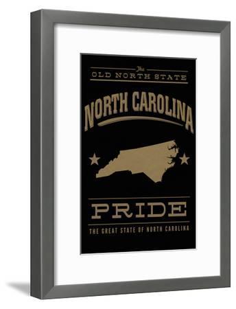 North Carolina State Pride - Gold on Black-Lantern Press-Framed Art Print