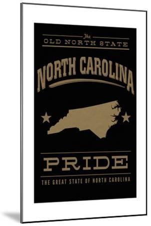 North Carolina State Pride - Gold on Black-Lantern Press-Mounted Art Print