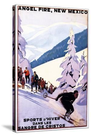 Sangre de Cristos, New Mexico - Spectators Watching Skier - Artwork-Lantern Press-Stretched Canvas Print