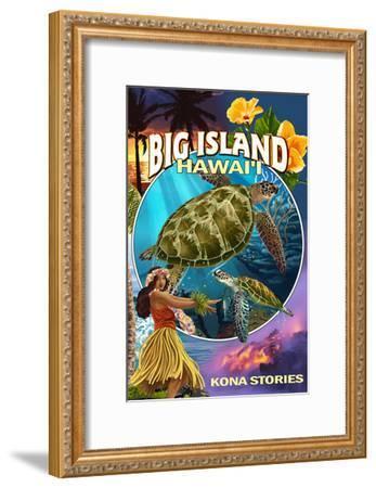 Kona, Hawaii - Big Island Montage-Lantern Press-Framed Art Print