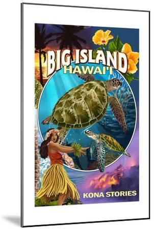 Kona, Hawaii - Big Island Montage-Lantern Press-Mounted Art Print
