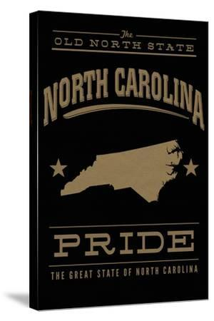 North Carolina State Pride - Gold on Black-Lantern Press-Stretched Canvas Print
