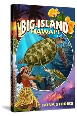 Kona, Hawaii - Big Island Montage-Lantern Press-Stretched Canvas Print